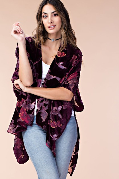 VELVET BURN-OUT FLOWER CARDIGAN - orangeshine.com