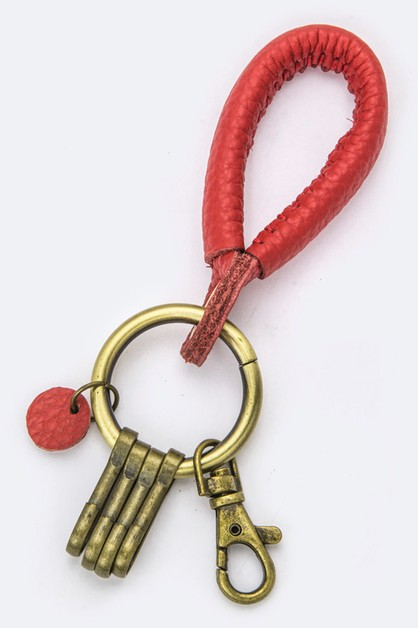 Genuine Leather Hoop Key Charm - orangeshine.com