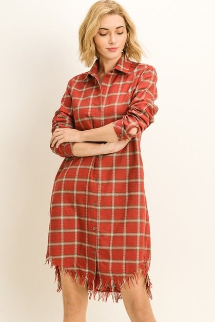 Raw Edge Plaid Flannel Dress - orangeshine.com