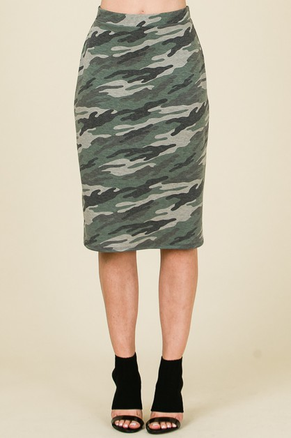 CAMO PRINT SKIRT WITH WAISTBAND - orangeshine.com