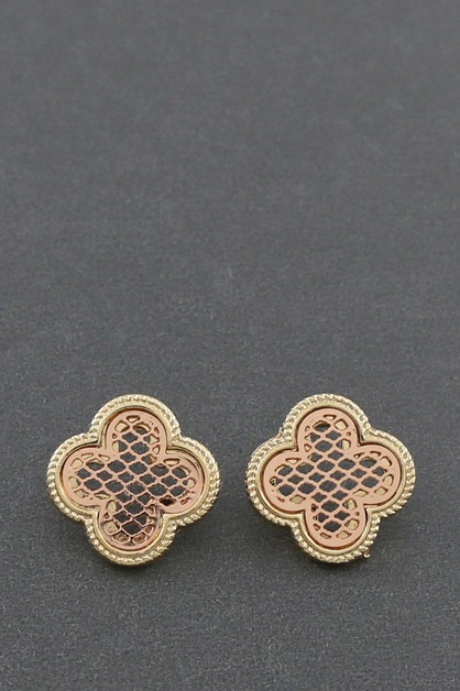 METAL  CLOVER POST EARRINGS - orangeshine.com