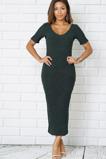 round neck body con dresses - orangeshine.com