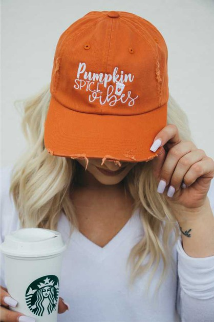 Pumpkin Spice Vibes Distressed Hat - orangeshine.com