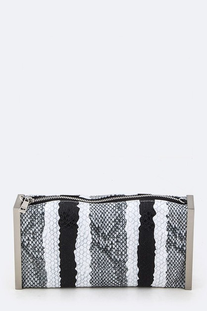 Striped Snake Skin Fashion Clutch - orangeshine.com