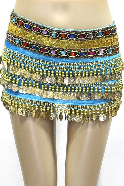 Belly dance velvet gold coin skirt - orangeshine.com