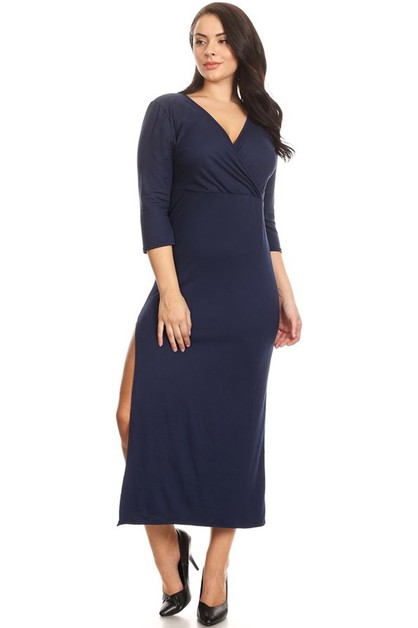 PLUS SIZE SIDE SLIT VNECK MIDI DRESS - orangeshine.com