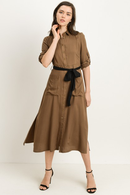 Belted Midi Dress - orangeshine.com