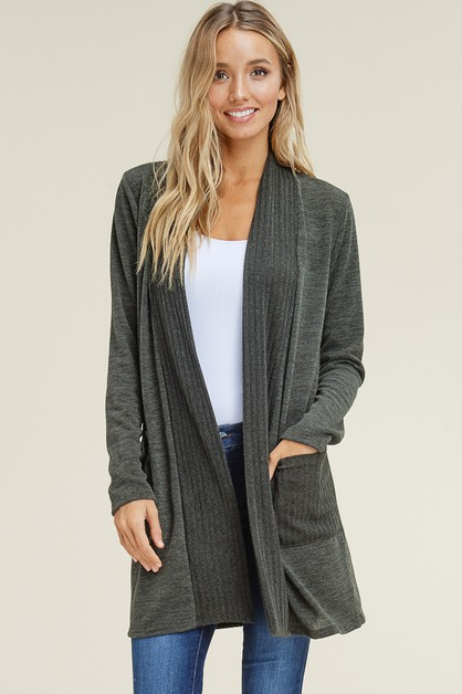LONG SLEEVE CARDIGAN WITH POCKETS - orangeshine.com
