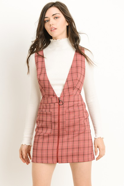 Plaid Zip Overall Dress - orangeshine.com