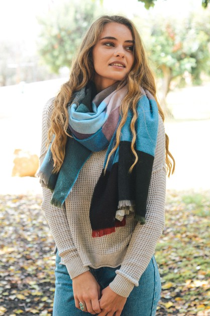 Vibrant Multicolor Frayed Edge Scarf - orangeshine.com