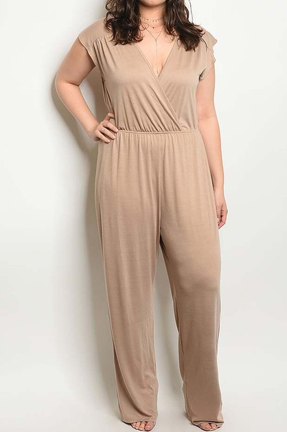 V NECK ELASTIC WAIST PLUS JUMPSUIT  - orangeshine.com