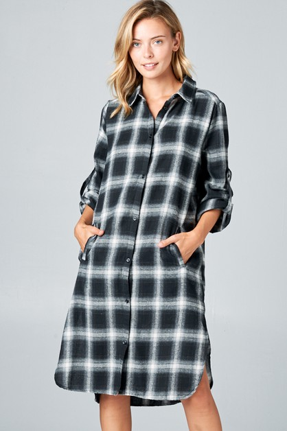 WOVEN PLAID SIDE POCKET SHIRT DRESS - orangeshine.com