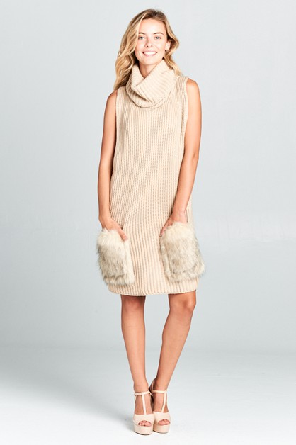 RIBBED TURTLE NECK W/ FUR PKT DRESS - orangeshine.com