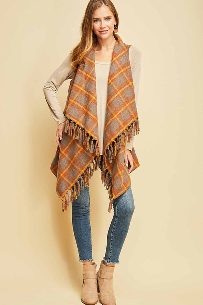 Plaid draped vest - orangeshine.com