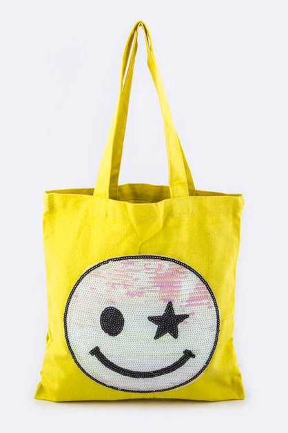 Sequins Smiley Face Fashion Tote - orangeshine.com