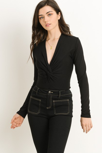 Twisted Long Sleeve Bodysuit - orangeshine.com