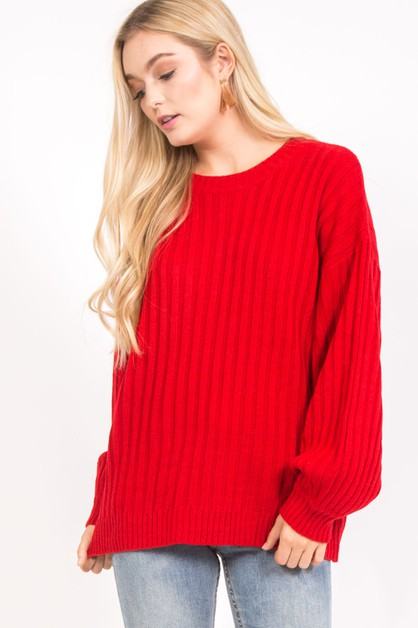 SIMPLE KNITTED BACK LACE-UP SWEATER - orangeshine.com