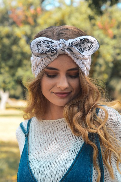 Embellished Bow Knit Headband - orangeshine.com