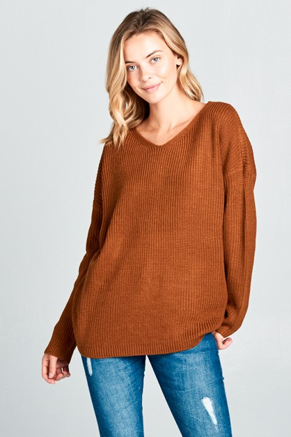 LACE UP BACK V NECK LONG SL SWEATER - orangeshine.com