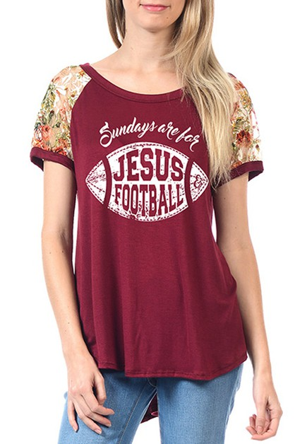 SUNDAY JESUS FOOTBALL GRAPHIC TOP - orangeshine.com