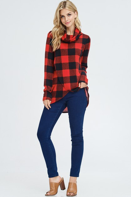 Split Front Plaid Cowl Neck Sweater  - orangeshine.com