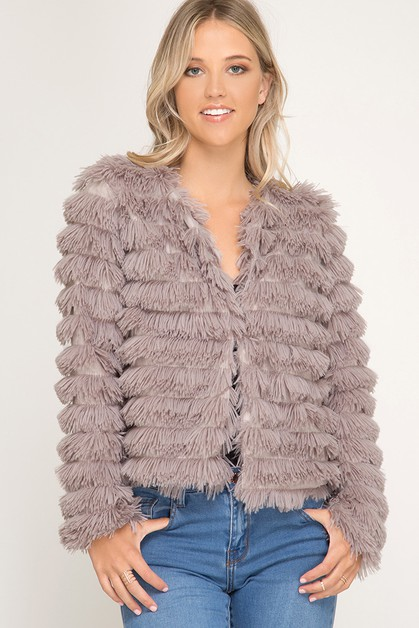 SL1527R2 - LAYERED FAUX FUR JACKET - orangeshine.com