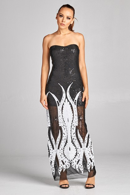 Sequins mesh tube maxi dress - orangeshine.com