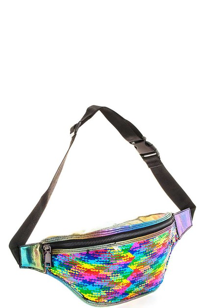 Rainbow Sequins Trendy Waist Bag - orangeshine.com