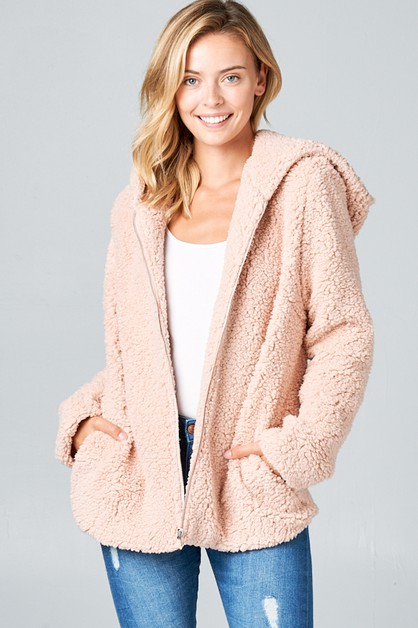 FAUX FUR SIDE POCKET HOODIE JACKET - orangeshine.com