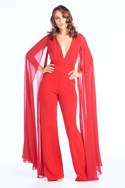V-Neck Long Sleeve Jumpsuits - orangeshine.com
