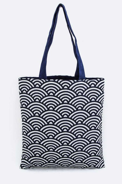 Japanese Wave Pattern Canvas Tote - orangeshine.com