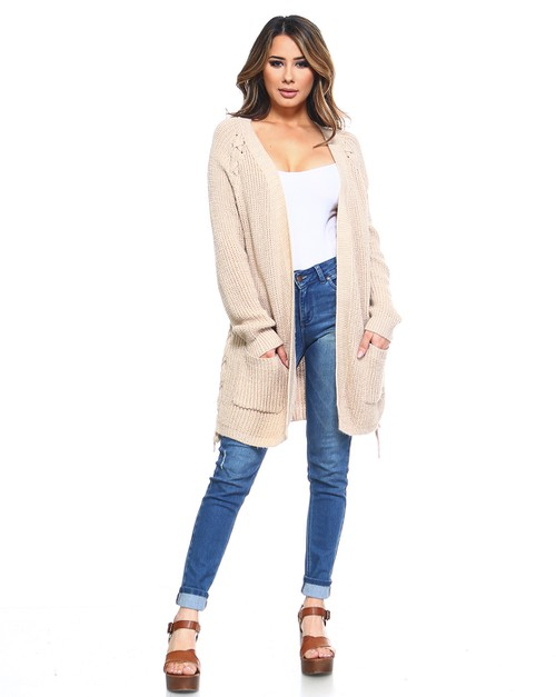 Side Lace Up Cardigan Sweater - orangeshine.com