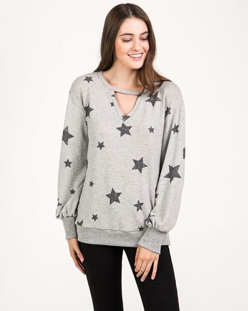 STAR PRINTED CUT-OUT DETAIL PULLOVER - orangeshine.com