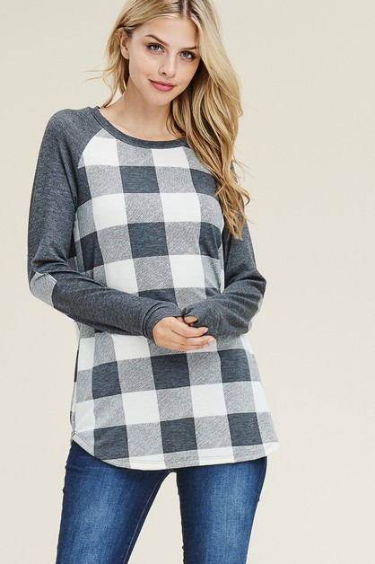 CHECKER RAGLAN TOP  - orangeshine.com