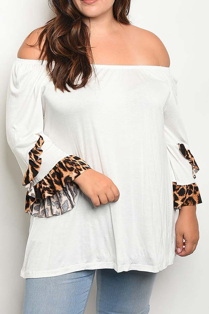 OFF SHOULDER BELL ANIMAL RUFFLE TOP  - orangeshine.com