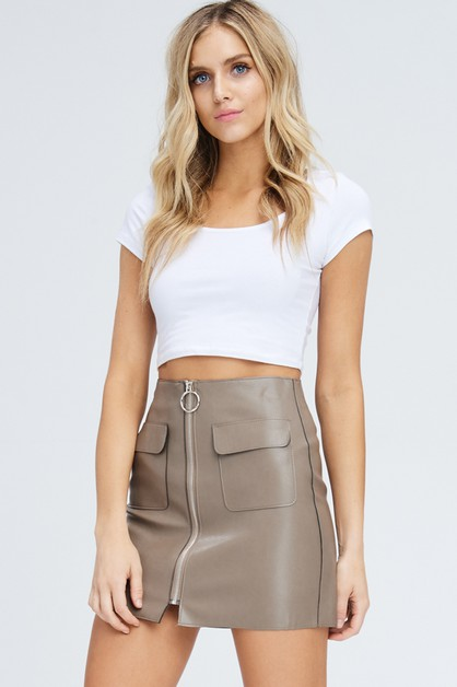 FAUX LEATHER SKIRTS WITH POCKET - orangeshine.com