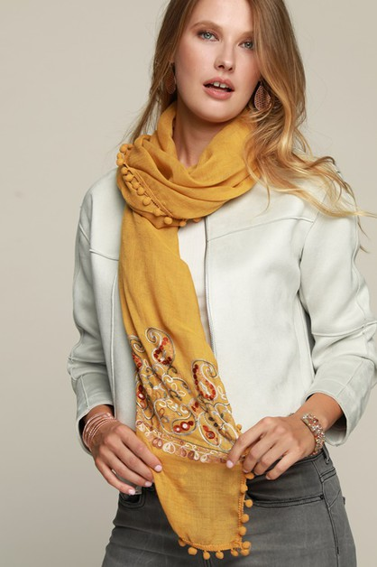 Paisley Embroidered Oblong Scarf - orangeshine.com