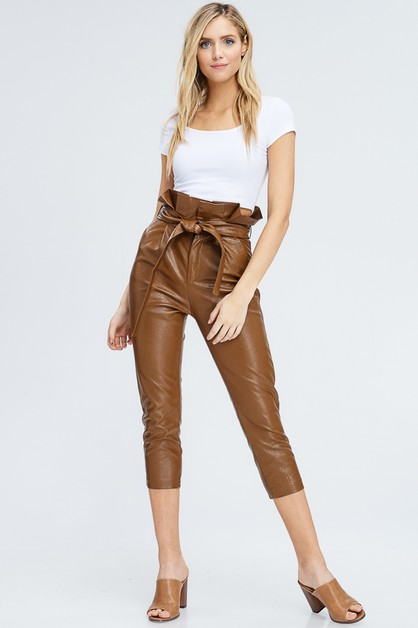 FAUX LEATHER HIGH WAIST BELTED PANT - orangeshine.com