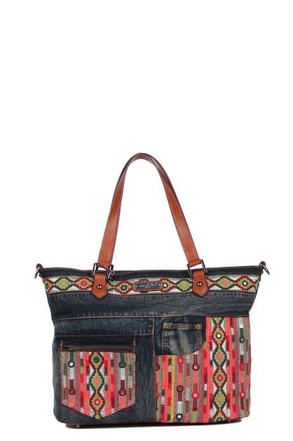 ERLA DENIM BOHEMIAN SHOPPER BAG - orangeshine.com
