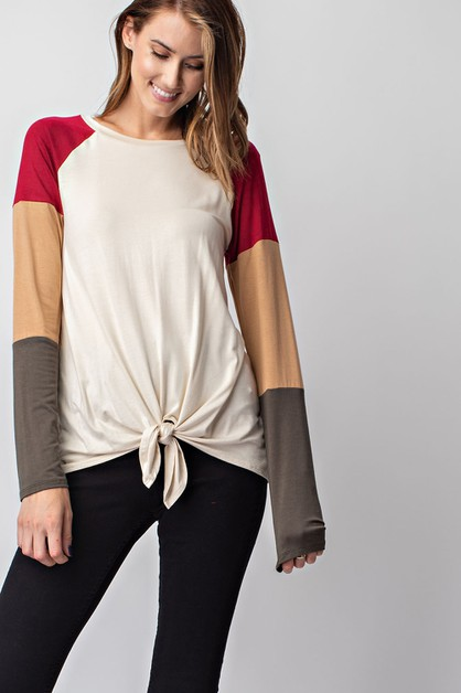 Color Blocked Long Sleeve Top - orangeshine.com