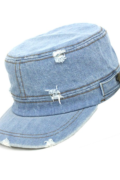 Distressed Denim Cadet Cap - orangeshine.com