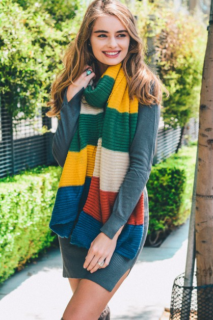 Color Block Rib Knit Scarf - orangeshine.com