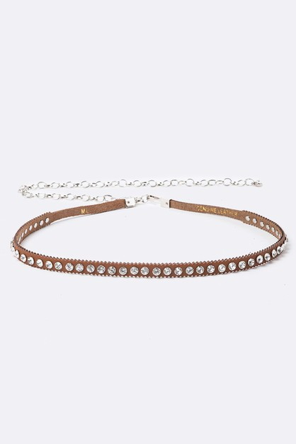 Crystal Studs Skinny Chain Belt - orangeshine.com