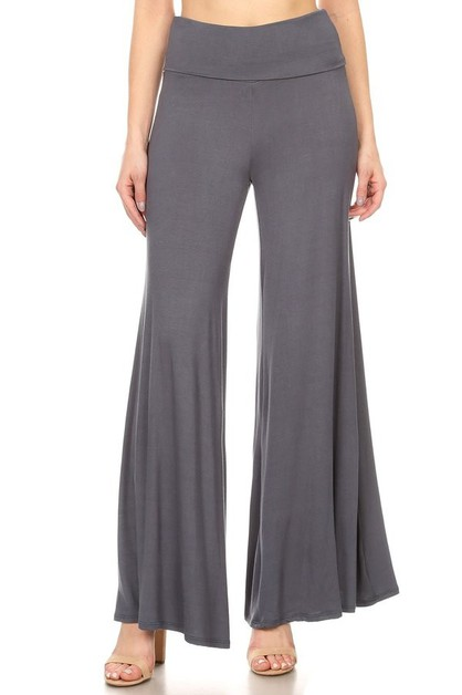 KNIT FOLD-OVER WAIST PALAZZO PANTS - orangeshine.com