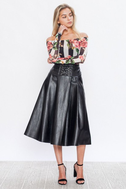 FAUX LEATHER A-LINE SKIRT  - orangeshine.com