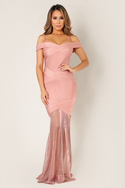 Criss Cross Bandage Bottom Mesh Maxi - orangeshine.com