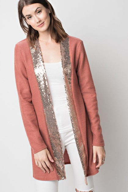 Sequin Accent Open Cardigan - orangeshine.com