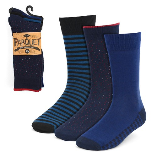3 Pairs Men Blue Fancy Dress Sock - orangeshine.com