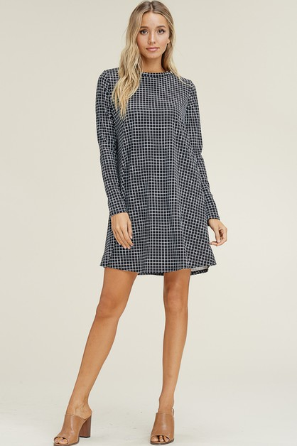 GRID PATTERN FIT AND FLARE DRESS - orangeshine.com