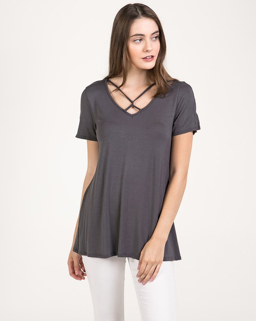 Slit sleeve Strappy Cross Front T - orangeshine.com
